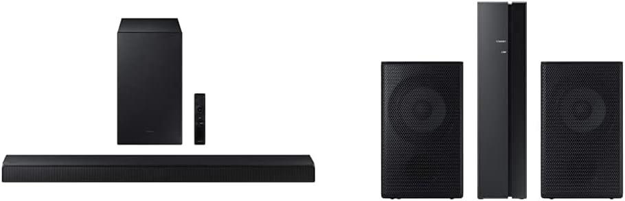 Samsung HW-A450/ZA 2.1ch Soundbar with Dolby Audio (2021), Black with Samsung | SWA-9100S | Wireless Rear Speaker Kit | 2021
