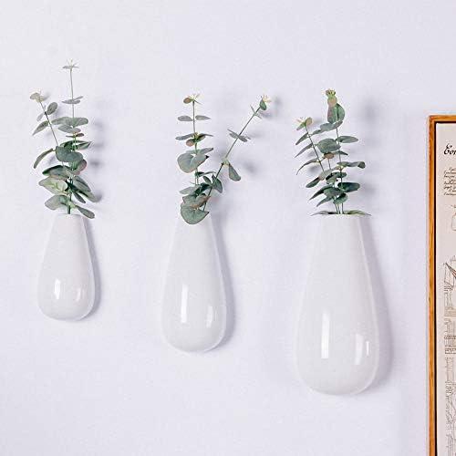 Sibon Wall Mounted, Hanging Decorative Flower Planter Vase Ceramic,White,3PCS