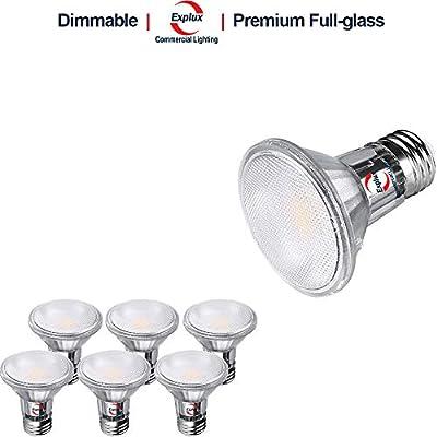 Explux Dimmable Classic Full Glass PAR20 LED Flood Light Bulbs