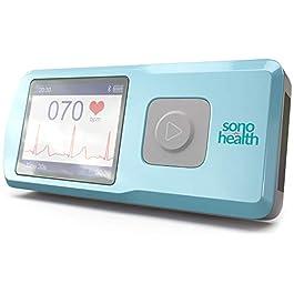 SonoHealth Portable EKG Heart Rate Monitor   Wireless Handheld Home ECG Cardio & Electrocardiogram Machine   Biofeedback Finger & Chest Leads View Irregular Cardiac Arrhythmia Vitals on a Mobile Phone