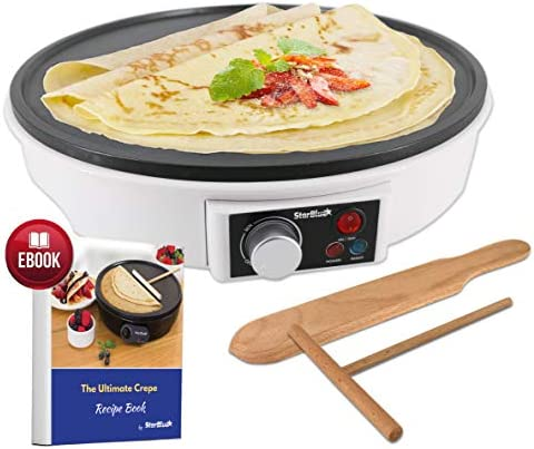 12 Electric Crepe Maker by StarBlue with FREE Recipes e-book and Wooden Spatula – Nonstick and Portable Pan, Compact, Easy Clean with On off button AC 120V 50 60Hz 1000W