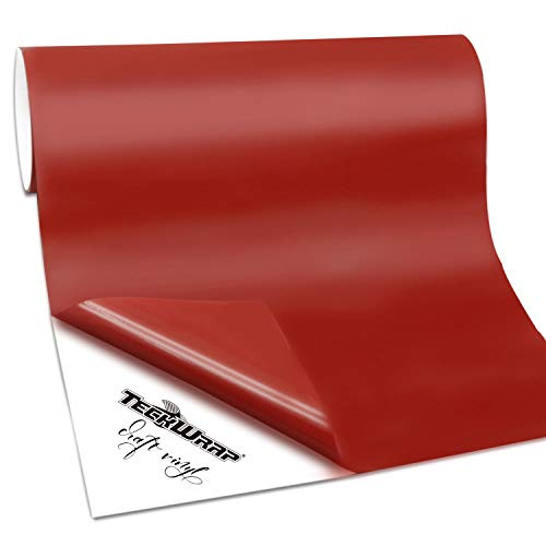 (TECKWRAP Permanent Adhesive Vinyl for Craft, 1ftx6ft, Matte Red)