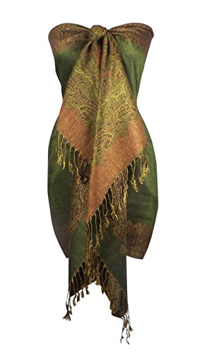 [Peach Couture Women's Ravishing Reversible Jacquard Paisley Shawl Wrap Pashmina Army Green red] (Army Outfits For Women)