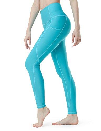 TSLA Yoga Pants Mid-Waist/High-Waist Tummy Control w Side/Hidden Pocket Series, Pocket Thick Contour(fyp54) - Aqua, Medium (Size 8-10_Hip39-41 Inch) (Best Pair Of Lululemon Pants)