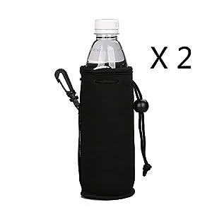 E - Living 500ML (16.9 OZ) Collapsible Neoprene Water Bottle Drawstring Cooler / Coolie / Cover / Insulator / Holder / Huggie / Sleeve - 2 Pack (13 Colors) (Black)