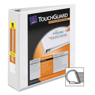 Avery TouchGuard Ring Binder - 2quot; Binder Capacity - Letter - 8.50quot; Width x 11quot; Length Sheet Size - 3 x Ring Fastener - 4 Pockets - Polypropylene - White - 1 Each