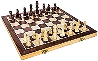 15 Inch Classic Folding Wooden Chess Set Includes Wooden Pieces in Storage Pouches  Board and Instructions