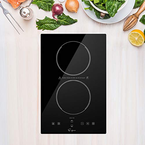 Empava Electric Stove Induction Cooktop Vertical with 2 Burners Vitro Ceramic Smooth Surface Glass in Black 120V, 12 Inch