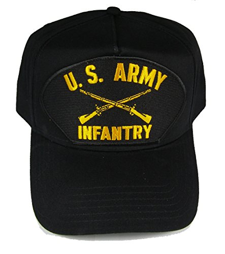 U.S. ARMY INFANTRY Hat with the CROSSED RIFLES INSIGNIA cap - BLACK - Veteran Owned Business (Veteran Cap Insignia)