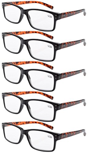 Eyekepper 5-pack Spring Hinges Vintage Reading Glasses Men Readers Black Frame Tortoise Arms 2.0
