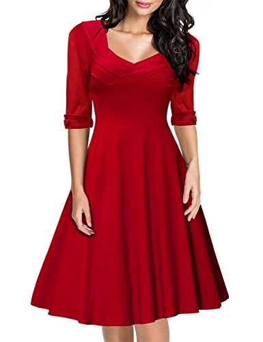 Leadingstar Women Vintage Solid Square Neck 1/2 Sleeve Waist Fitted Swing Dress Red Asia Size S - Vintage Square Dance Dress