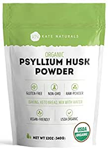 Psyllium Husk Powder Organic by Kate Naturals. Perfect for Baking, Keto Low Carb Bread and Consuming with Water. Fine Grind. Gluten-Free & Non-GMO. Large Resealable Bag (12oz).