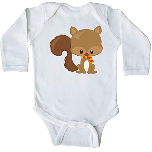 inktastic Cute Squirrel with Fluffy Tail and a Long Sleeve Creeper Newborn White (Colorful The Squirrel Owl Monkeys)