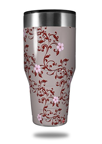 75aa33893f5 Skin Decal Wrap for Walmart Ozark Trail Tumblers 40oz Victorian Design Red  (TUMBLER NOT INCLUDED