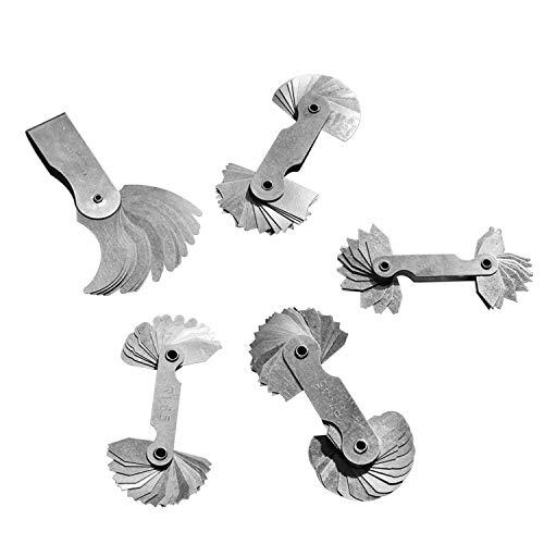 R0.3-1.5MM DEWIN Radius Fillet Gauge for External Internal Concave Convex Stainless Steel Measuring Tool