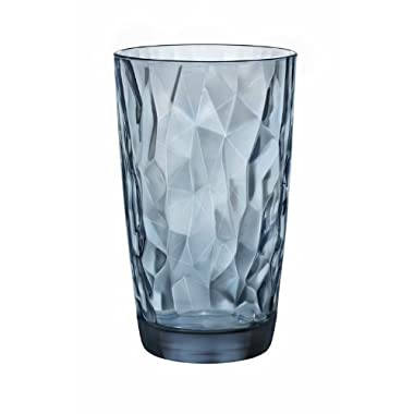 Bormioli Rocco Diamond Cooler Glasses, Ocean Blue, 16 oz, Set of 6