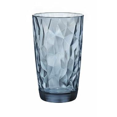 Bormioli Rocco Diamond Cooler Glasses, Ocean Blue, 16 oz, Set of 6