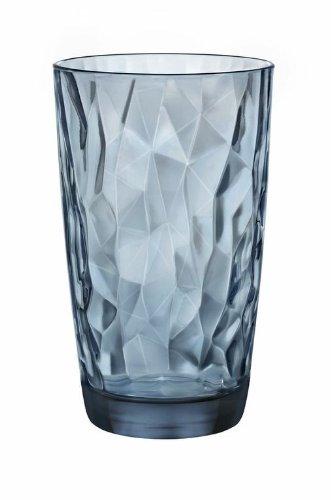 Bormioli Rocco Diamond Cooler Glasses, Ocean Blue, 16 oz, Set of (Blue Water Glasses)