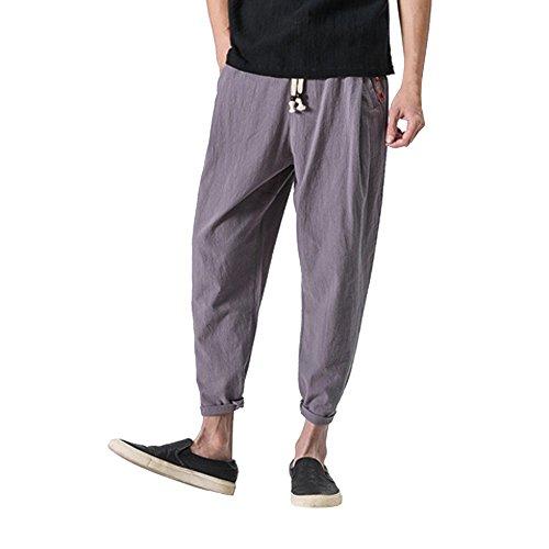 Cobcob Men 's Linen Sweatpants,Male Baggy Drawstring Harem Pant Solid Ankle-Length Joggers Trousers Gray
