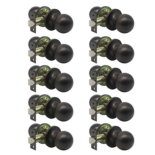 - 10 Pack Oil Rubbed Bronze Passage Door Knobs,Interior Hall/Closet Keyless Locksets,Classic Ball Shape Door Handles with Removable Plate