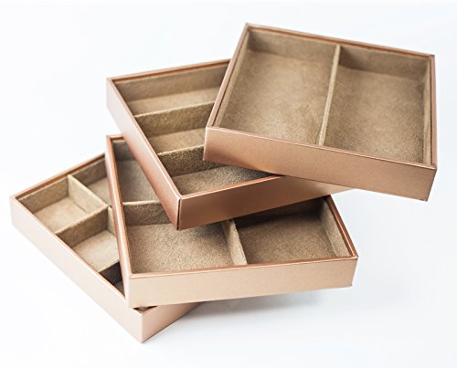 HUJI Stackable Jewelry Trays Organizer Storage Rings Earrings Bracelets Watches Necklaces (1, Camel Brown Stack-able Trays) by Huji (Image #3)