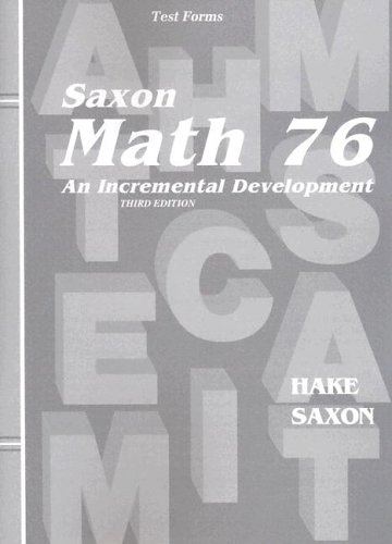 Saxon Math 7/6: Home School-tests