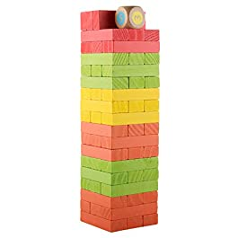 donado Wooden Stacking Board Games Building Blocks Colored Tower Board Games Toys Playset with 54 Pieces for Kids Aged 3+