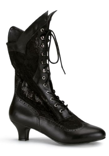 Women's 2 Inch Heel Lace Victorian Ankle Boot (Black PU;9) Pu Womens Victorian Boots