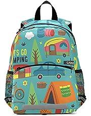 OREZI Kid's Toddler Backpack for Boys Girls,Summer Camping Forest And Car Daycare Bag,Kindergarten Children Bag Preschool Nursery Travel Bag with Safety Leash