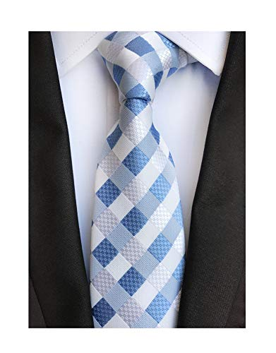 (Mens Stripes College Light Blue White Silk Ties Jacquard Gentlemen Necktie Gifts)