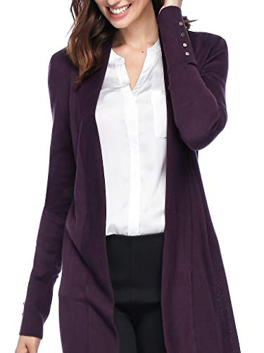 Spicy Sandia Open Front Knit Cardigans for Women Lightweight Cover-up Long Sleeve Cardigan Sweaters, Plum, Large