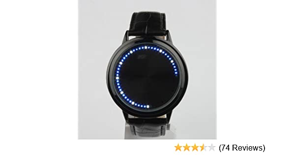 Led Touch Screen Watch Unique Cool Watch With Tree Pattern Simple Black Dial 60 Blue Lights Watch With Soft Black Leather Strap Complete In Specifications Watches