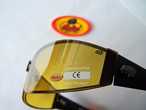 d62a37a9f56d Image Unavailable. Image not available for. Colour: Indian Motorcycle  Sunglasses Night Driving Yellow Wraparound Bono U2 Free Case UV400  Protection