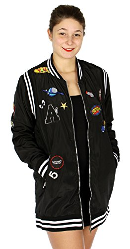 fashion2100 Long Striped Bomber Jacket w/Patches Black (Patch Bomber)