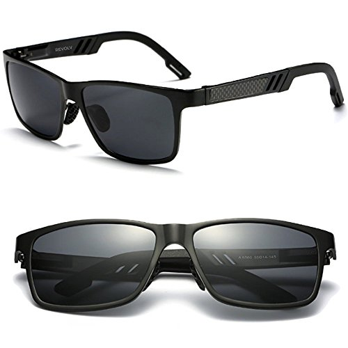 Polarized Men's Sunglasses with Adjustable Aluminum Frame 146mm for Medium / Wide Faces (Matte Black Frame / Black Smoke - Face For A Frames Square