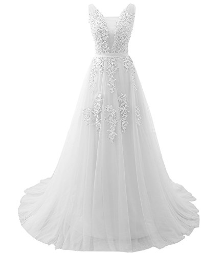 Aiyi Womens Bouble V Neck Lace and Pearl Long Prom Dress Evening Gown White US18W -