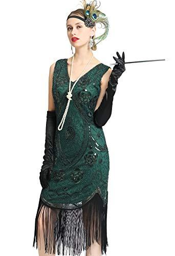 Women's Great 1920s Gatsby Costume Inspired Sequin Fringe Flapper Dress Sleeveless (Green, Small)