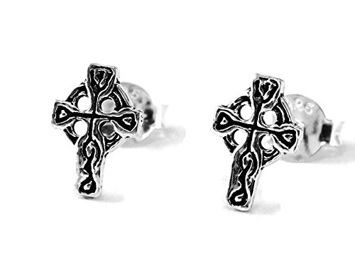 925 Sterling Silver Earring Cartilage For Women Ear Stud Helix Tragus Tribal Celtic Cross 5/16