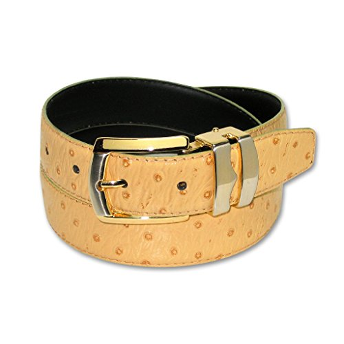 OSTRICH Pattern CAMEL YELLOW Bonded Leather Men's Belt Gold-Tone Buckle 40