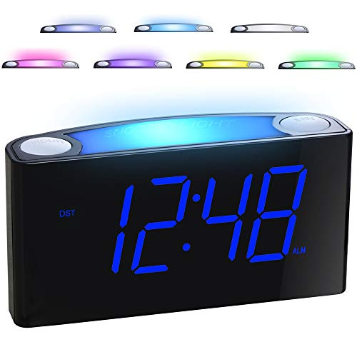 Alarm Clock for Bedrooms - 7 Color Night Light,2 USB Chargers, 7 Large LED Display with Slider Dimmer, 12/24 H,Battery Backup, Plug-in Loud Alarm Clock for Heavy Sleeper,Teen,Elderly, Boys&Girls Kids