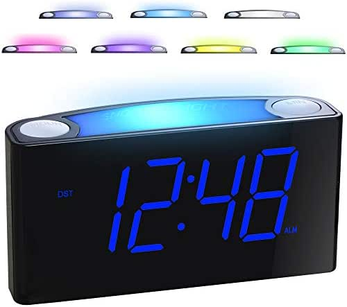 """Alarm Clock for Bedrooms - 7 Color Night Light,2 USB Chargers, 7"""" Large LED Display with Slider Dimmer, 12/24 H,Battery Backup, Big Snooze, Plug-in Loud Alarm Clock for Heavy Sleeper, Kid,Teen,Elderly"""