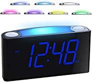 """Mesqool 7"""" Digital Alarm Clock, 7 Colored Night Light, Large LED Digits with Full Dimmer, USB Chargers, 12/24"""