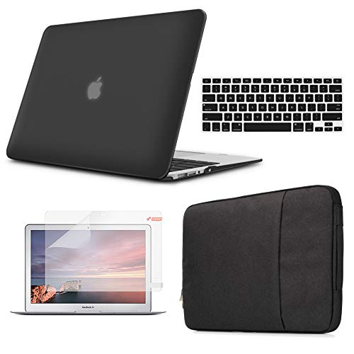 (Holilife MacBook Air 13'' Case Bundle 4 in 1, Pure Color Ultra-Slim Matte Frosted Shell with Sleeve,Screen Protector & Keyboard Cover for MacBook Case Air 13 inch (A1469/A1466), Black)