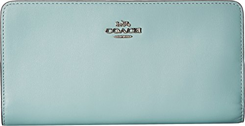 - COACH Women's Smooth Leather Skinny Wallet Sv/Light Turquoise One Size