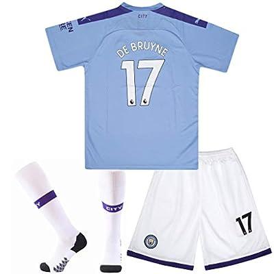 #17 De Bruyne Manchester City Home Soccer Jersey & Socks & Shorts 2019-2020 Season Kids/Youth Blue