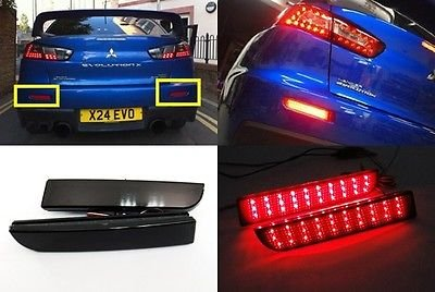LEDIN Black Smoked Lens LED Bumper Reflector Tail Brake Light Mitsubishi Lancer EVO X