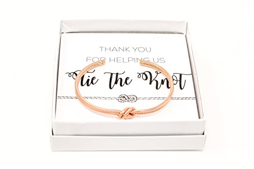 Lemon Honey Jewelry Bridesmaid Gifts - Tie The Knot Thank You Bracelet w/Gift Box, Sailor Bridal Party Gift Sets, Adjustable Love Knot Cuff Bracelet (Gold, Rose Gold, Silver) (Rose Gold) by Lemon Honey Jewelry (Image #1)