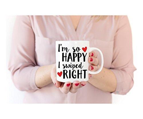 I'm So Happy I Swiped Right Mug   Coffee Mug   Tinder Mug   Engagement Mug   Gift for Boyfriend   Anniversary Gift   Gift for Girlfriend   Valentine Mug - San Black Marcos Friday