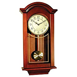 River City Clocks Chiming  Regulator Wall Clock with Swinging Pendulum and Cherry Finish - 24 Inches Tall - Model # 6023C