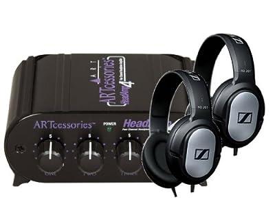 ART HeadAmp4 Headphone Amp with HD 201 Stereo Headphones - Set of 2